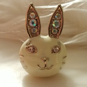 Anna Sui White Bunny Rabbit Ring Adjustable Size